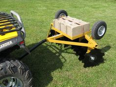 """FLIP-OVER SINGLE GANG DISC in WORKING POSITION... FLIP-OVER SINGLE GANG DISC  The FOD-16 is an ideal pull type implement for Garden Tractors and ATV's. Some of the FOD-16 features are: Great for tilling gardens, orchards, or field game plots. Disc flips over for easy transport across lawns, driveways, or other areas not to be disked. Eight 16"""" notched disc blades for positive trach cutting and soil penetration. Disc gangs are at 20° angle for optimum cutting. Rear tab for drag harrow…"""