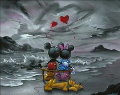 Jim warren Mickey and Minnie Forever Love.HD Canvas Print Home decor,16x20inch
