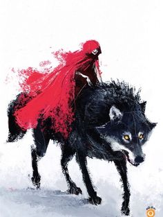 Red riding hood, wolf, painting, water colors, red cape, women, beast, yellow eyes,