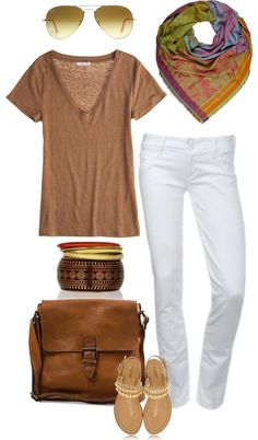 Like certain parts of this outfit. I like the jeans, tee, and scarf.