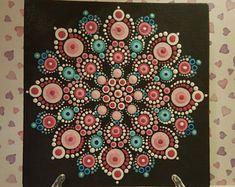 Mandala à pois rose bleu