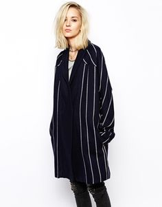 RELIGION Striped Wool Cocoon Coat (ASOS)  Effortless, subdued, masculine chic.