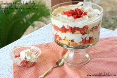 A Strawberry & Vanilla Cake Trifle that Trim Healthy Mama's can enjoy! It is gluten free, nut free, sugar free and low carb!