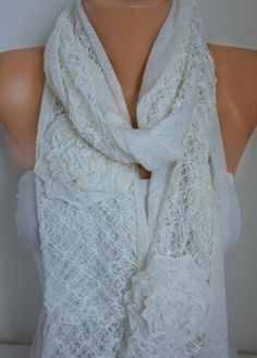 Creamy White Floral Scarf Spring Summer Scarf Shawl Oversized
