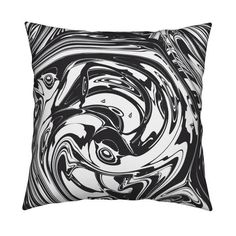 Bold Black Throw Pillow Black Marble By Andrea Haase Design Etsy Black Throw Pillows Throw Pillows Black And White Marble