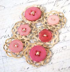 Mini Doily Button embellishments in Pink por ScrappingArt en Etsy