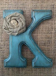 """CUSTOM 6"""" Turquoise and Burlap Distressed Wooden Letter Cake Topper Rustic Country Chic Wedding Reception Decor WALL Hanging Picture"""