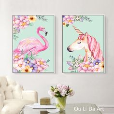 no frame cartoon pink flamingos unicorn canvas printings oil paintings printed on canvas kid room wall art decoration picture #Affiliate