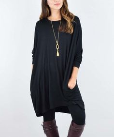 This Black Pocket Dolman Tunic is perfect! #zulilyfinds