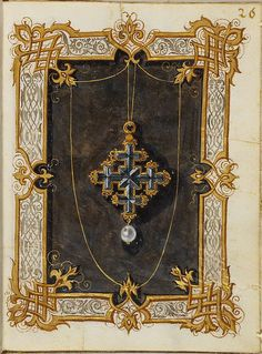 1550s: long thin gold chain with large jeweled cross and single round pearl drop. Jewel Book of the Duchess Anna of Bavaria