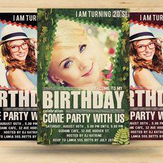 Retro Birthday Invitation Card by FionaCreatiiv on Etsy, $4.00
