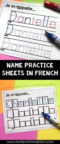 French Classroom Name Writing Practice Activities – For French Immersion - Colorful Candies Kindergarten 2020 Kindergarten Names, Preschool Names, Kindergarten First Day, Kindergarten Activities, Name Writing Practice, French Alphabet, French Flashcards, French Classroom, French Lessons