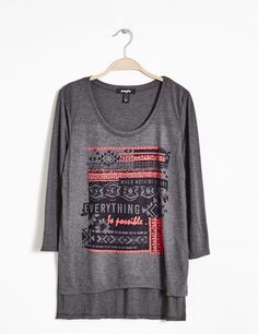 Tee-shirt long imprimé gris anthracite femme • Jennyfer
