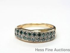 14k Gold Fancy Color Blue Teal Diamond Pavé Classic Band Style Ring Size 9.5 #Band
