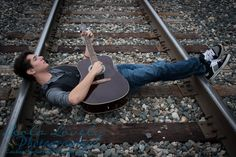 -1309_senior_053-44  Senior Photography, Senior Photos, Leola Lovely Photography, Senior Boy, Senior Guy, Urban, City, Posing Ideas, Railroad Tracks, Railroad, Guitar