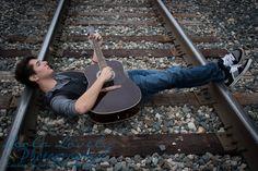 -1309_senior_053-44  Senior Photography, Senior Photos, Leola Lovely Photography, Senior Boy, Senior Guy, Urban, City, Posing Ideas, Railroad Tracks, Railroad, Guitar