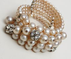 memory wire bracelets | Faux Pearl and Rhinestone Memory Wire Bracelet from wrightglitz on ...