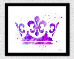 Purple crown print crown silhouette crown art by FluidDiamondArt