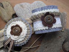 """Armband und Brosche """"Alpenglühen"""" von einfach-B auf DaWanda.com Shabby, Etsy, Jeans, Cabanas, Tricot, Accessories, Simple, Safety Pins, Brooches"""