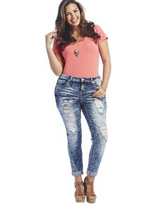 plus size damaged jeans - Jean Yu Beauty