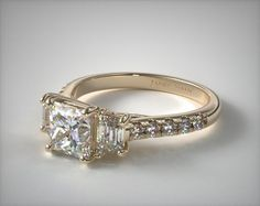 14K Yellow Gold Three Stone Brilliant Diamond Trellis Engagement Ring | Click to see the ring in 360° HD -- use the dropdown menu below the image in order to change the center stone .