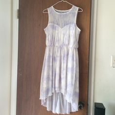 ASOS watercolor high low dress Worn once. Mesh neckline, high low hemline, chiffon/polyester. Bundle for a great discount! ASOS Dresses High Low