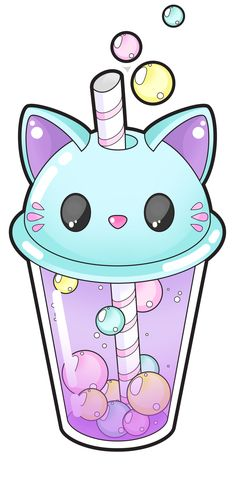 Cute cat bubble tea [Commissions open] by Meloxi on DeviantArt
