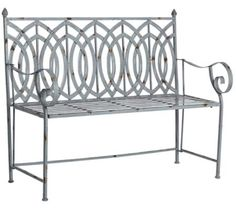 $130-38x48x17-A series of bold curves and scroll arms give this outdoor iron bench a sculptural quality. An antique steel gray finish adds contemporary charm to this outdoor accent.