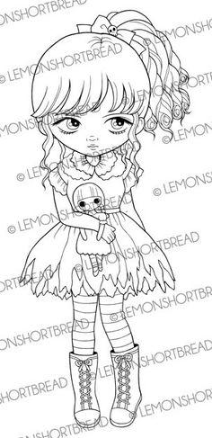 Menina com boneca Selo Digital, Digi Coloração selo página, Not My Dolly, Gothic Lolita, Arte Eyed grande, Listrado Socks Graphic, Instant download