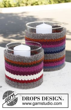 Trendy #crochet covers for glass vases in delicious colours. Pattern available for free #DROPSDesign #interior