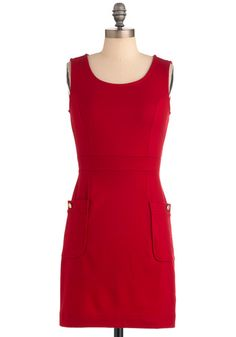 $40 Books You've 'Red' #Dress - Red, Solid, Buttons, Pockets, #Sheath / Shift, Sleeveless, Exposed zipper, Party, Tank top (2 thick straps), Fall, Short