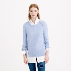 Merino wool asymmetrical zip sweater   J Crew