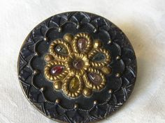 Large VINTAGE Perforated Jewel Flower Metal & Celluloid by abandc