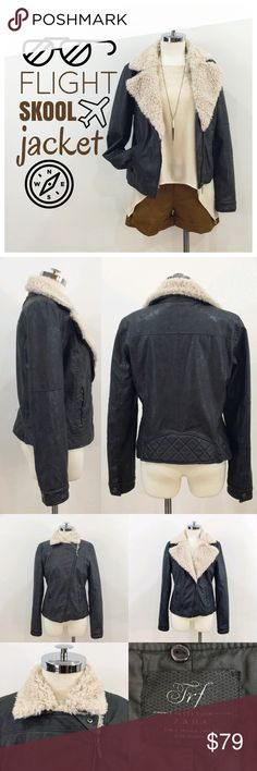•ZARA• faux leather jacket w/ removable fur Your perfect new jacket with removable faux fur collar.  Faux leather has a slight distressed look to it and is like a dark brown almost oil color.  Can be worn open and zipped down to expose the fur or zipped up when it get colder.  Two pockets at the front.  Cuffs and back have a quilted panel.  Jacket feels ever so slightly padded and is fully lined.  Entire fur collar is removable with a few buttons, so you can also use it as a regular leather…