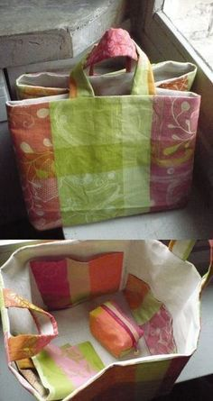 36 Ideas for sewing bags tote tuto sac Sewing Hacks, Sewing Tutorials, Sewing Crafts, Sewing Projects, Purse Patterns, Sewing Patterns, Crochet Patterns, Diy Sac, Quilted Bag