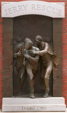 """The Jerry Rescue! Exactly 166 years ago on several anti-slavery activists (with strong community support) rescued William """"Jerry"""" Henry, a Black barrel maker, who had been arrested earlier that day under the 1850 Fugitive Slave. Statues, Famous Historical Figures, Black History Facts, Art History, African History, African American History, Black Art, Sculpture Art, Street Art"""