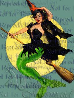 Halloween Witch Mermaid, Artist The Vintage Mermaid Mermaid Cove, Mermaid Diy, Vintage Mermaid, Mermaid Quilt, Mermaid Fabric, Halloween Fabric, Vintage Halloween, Halloween Mermaid, Mermaid Stories
