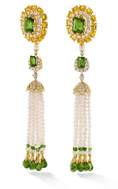Ganjam's earrings from their Nizam Collection. With green tourmalines, yellow sapphires, pearls, and diamonds set in yellow gold.