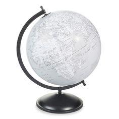 Globe terrestre en plastique gris H 47 cm HUDSON