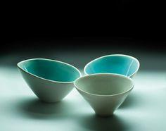 thrown bowl with asymmetrical lip