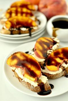 Fresh Peach Crostini with Whipped Honey Feta and Balsamic Drizzle