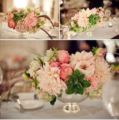 For the round reception tables: Things I like: 1) The compote vase, but would want in a vintage gold. 2) Like the fullness, but also that the flowers aren't too round. 3) The pink/coral colors in this arrangement are close to the color pallet Im going for.