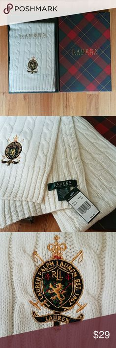 Ralph lauren scarf Brand new ralph lauren viscose,nylon, and lambswool material ivory scarf in a box Ralph Lauren Accessories Scarves & Wraps