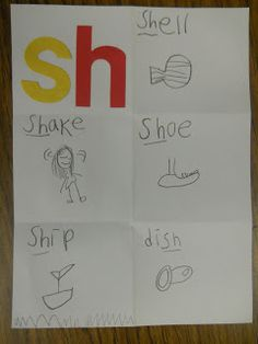 Mrs. T's First Grade Class  love this simple activity;  die cut letters and a folded piece of paper (Digraphs)