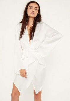 White Satin Wrap Mini Dress