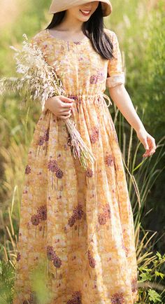 Chic O-Neck Summer Clothes Pattern Yellow Print Dress Casual Summer Dresses, Summer Outfits, Summer Maxi, Linen Dresses, Cotton Dresses, Floral Plus Size Dresses, Summer Blouses, Yellow Print, Chiffon Dress