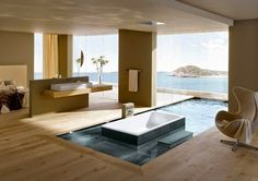 These inspired bathroom design ideas from Kaldewei show the extent of the company's vision. So different, yet each so luxurious… In the first design shown Zen Bathroom Design, Bathroom Layout, Bathroom Interior Design, Bathroom Designs, Bathroom Ideas, Asian Bathroom, Open Bathroom, Bathroom Inspiration, Bathroom Renovations