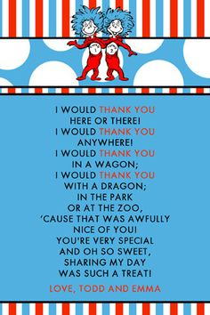 Dr. Seuss Thank You! my students and teaching buddies would love this!