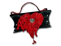 Handmade leather HEART bag (black/red) Leather Purses, Leather Bags, Red Bags, Gothic Outfits, Leather Accessories, Handmade Leather, Classy Outfits, Italian Leather, Heart Shapes