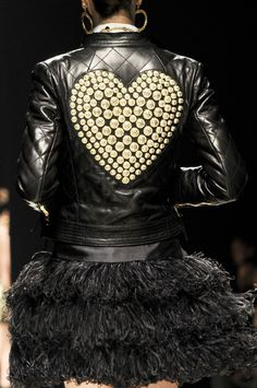 embellished leather jacket, fall leather  Moschino Fall 2012 Runway Details